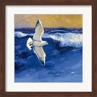 Seagulls with Gold Sky II Fine Art Print