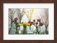 Spring Flowers in Glass Bottles I Fine Art Print