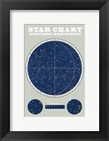 Northern Star Chart Blue Gray Fine Art Print