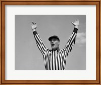 1950s Football Referee Making Touchdown Signal Fine Art Print