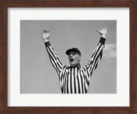 1950s Football Referee Making Touchdown Signal Fine Art Print