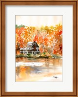 Fall Cabin by the Lake Fine Art Print