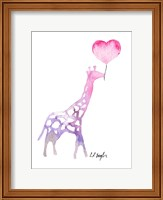 Giraffe with Heart Balloon Fine Art Print