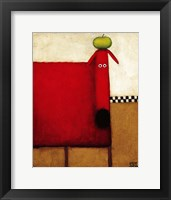 Red Dog With Apple Fine Art Print