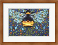 Bee And Blue Birds Fine Art Print