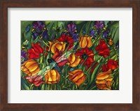 Iris Dragonfly And Bees Fine Art Print