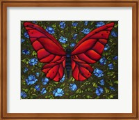 Red On Blue Butterfly Fine Art Print