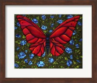 Red On Blue Butterfly Fine Art Print