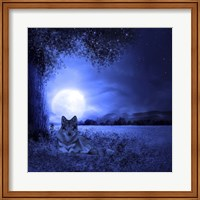 Moon Night And Wolf Fine Art Print
