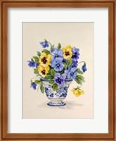Blue and White Porcelain Pansies Fine Art Print