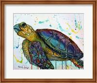 Sea Turtle w/paint splotches Fine Art Print