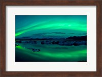 Aurora Borealis or Northern Lights over Jokulsarlon Lagoon, Iceland Fine Art Print