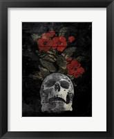 Skull Red Flowers Fine Art Print