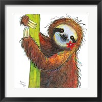 Sloth with Red Flower Fine Art Print