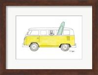Yellow Van with Green Surf Board Fine Art Print