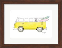 Yellow Van with Pink and Green Surfboards Fine Art Print