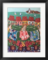 Rosey Roofed Cottages and Quilts Fine Art Print