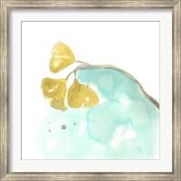 Teal and Ochre Ginko VI Fine Art Print