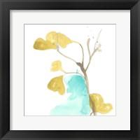 Teal and Ochre Ginko IX Fine Art Print