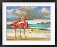 Beach Scene Flamingos Fine Art Print