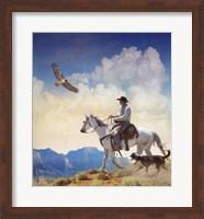 Cowboy With Dog And Hawk Fine Art Print