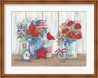 Patriotic Glass Jars with Flowers Fine Art Print