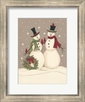 Wreath & Cardinal Snowmen Fine Art Print