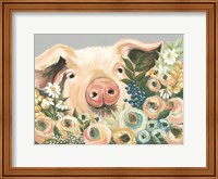 Pig in the Flower Garden Fine Art Print