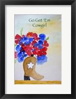 Get 'Em Cowgirl card Fine Art Print