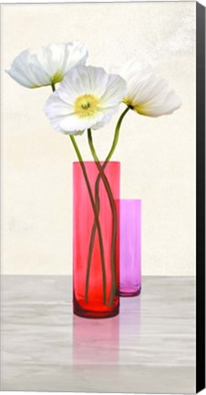 Framed Poppies in crystal vases (Purple II) Print