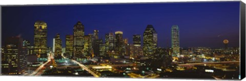 Framed Buildings at Night, Dallas, Texas Print