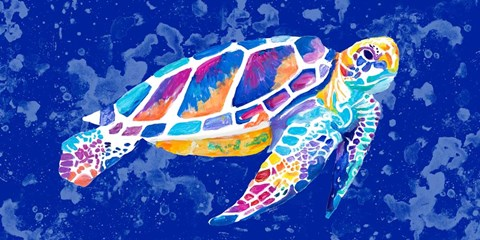 Framed Vibrant Blue Sea Turtle Print