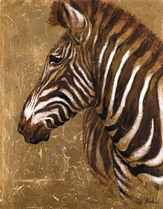 Framed Gold Zebra Print