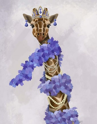 Framed Giraffe with Purple Boa Print