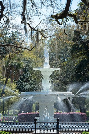 Framed Fountain In Forsyth Park, Savannah, Georgia Print