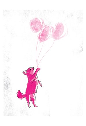 Framed Dog Holding Balloon Print