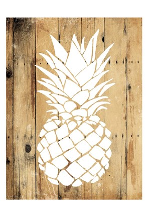 Framed Wood Pineapple Print