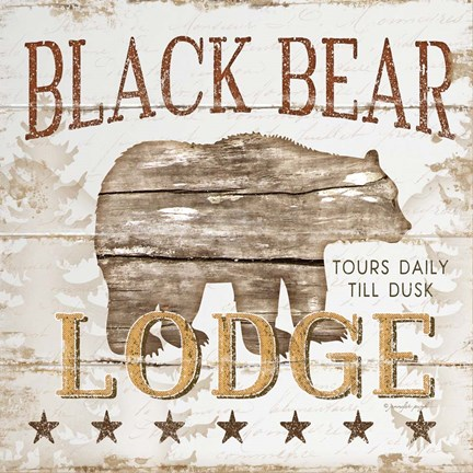 Framed Black Bear Lodge Print