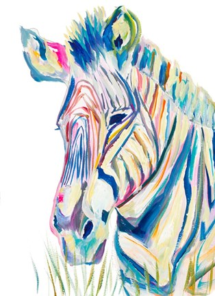 Framed Colorful Zebra Print