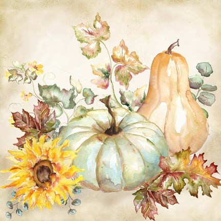 Framed Watercolor Harvest Pumpkin II Print