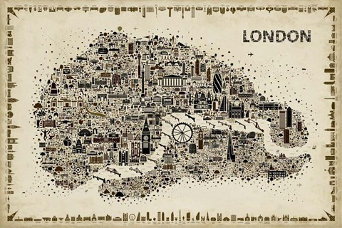Framed Antique Iconic Cities-London Print