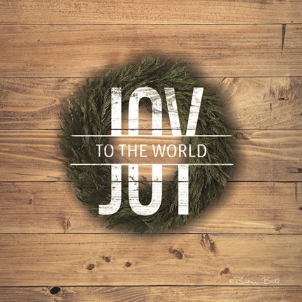 Framed Joy to the World with Wreath Print