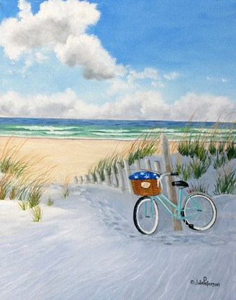 Framed Beach and Bike Print