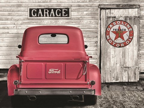 Framed Red Truck with Texaco Sign Print