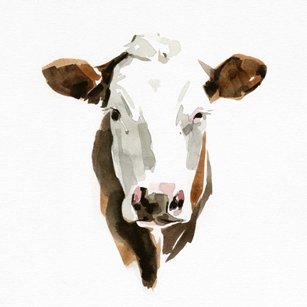 Framed Watercolor Bovine III Print