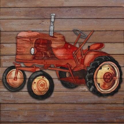 Framed Tractor on Wood II Print