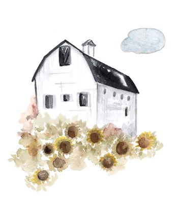 Framed Barn and Sunflowers Print