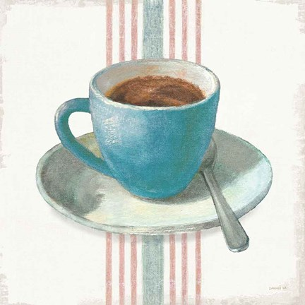 Framed Wake Me Up Coffee IV Blue with Stripes No Cookie Print