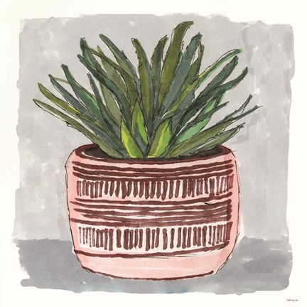 Framed Potted Agave I Print