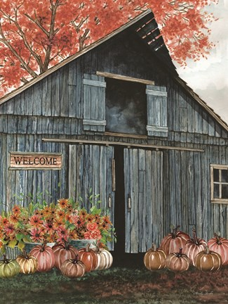 Framed Welcome Fall Barn Print